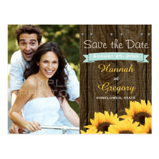 AQUA RUSTIC SUNFLOWER SAVE THE DATE POSTCARD
