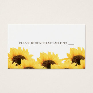 AQUA RUSTIC SUNFLOWER SEATING PLACE CARD
