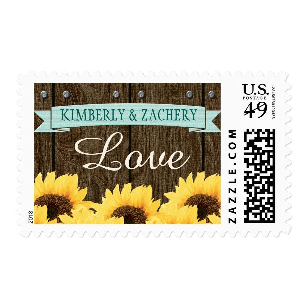 Aqua Rustic Sunflower Wedding Love Postage Stamp