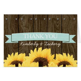 AQUA RUSTIC SUNFLOWER WEDDING THANK YOU CARD