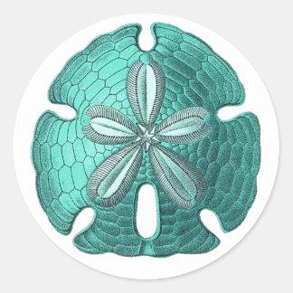 Aqua Sand Dollar Classic Round Sticker
