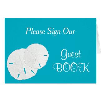 Aqua Sand Dollars Wedding Guest Book Sign Card