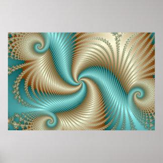 Aqua Satin - Fractal Poster