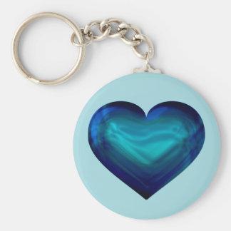 Aqua satin heart keychain
