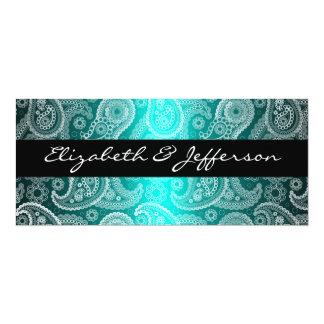 "Aqua Satin & White Paisley Lace Wedding Invitation 4"" X 9.25"" Invitation Card"