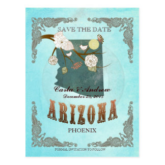 Aqua Save The Date - Arizona Map With Lovely Birds Postcard