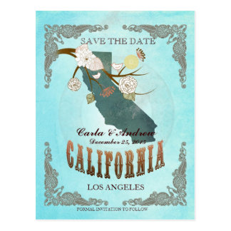 Aqua Save The Date - CA Map With Lovely Birds Postcard
