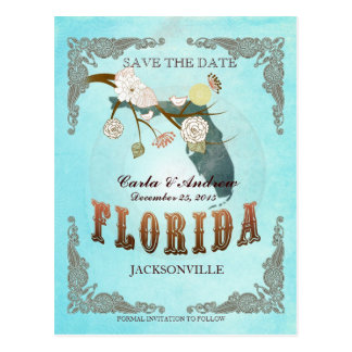Aqua Save The Date - Florida Map With Lovely Birds Postcard