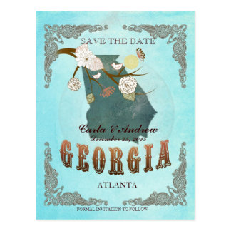 Aqua Save The Date - Georgia Map With Lovely Birds Postcard