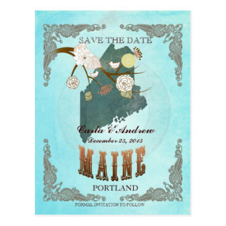 Aqua Save The Date - Maine Map With Lovely Birds Postcard