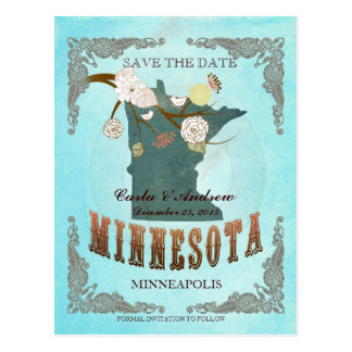 Aqua Save The Date - MN Map With Lovely Birds Postcard