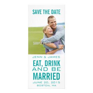 Aqua Save the Date Modern EAT DRINK BE MARRIED Custom Invite
