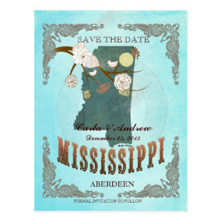 Aqua Save The Date - MS Map With Lovely Birds Postcard