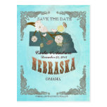 Aqua Save The Date -Nebraska Map With Lovely Birds Post Card