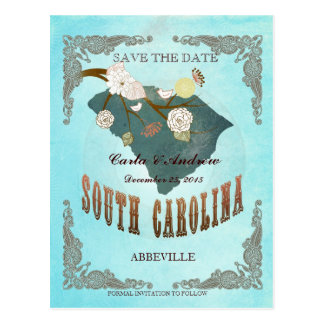 Aqua Save The Date- SC Map With Lovely Bird Postcard