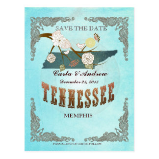 Aqua Save The Date - TN Map With Lovely Birds Postcard