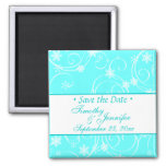 Aqua save the Date Winter Wedding Magnet