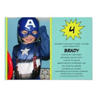 Aqua Save the Day Superhero Photo Birthday Party 5x7 Paper Invitation Card