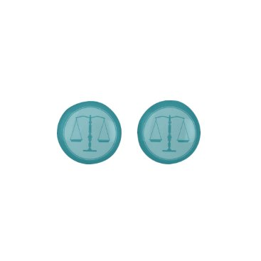 Lawyer Themed Aqua Scales of Justice   Stylish Lawyer Gift Earrings