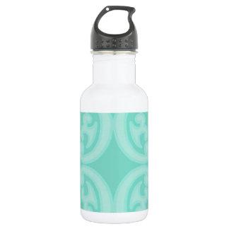 Aqua Sea Blue Damask Stainless Steel Water Bottle