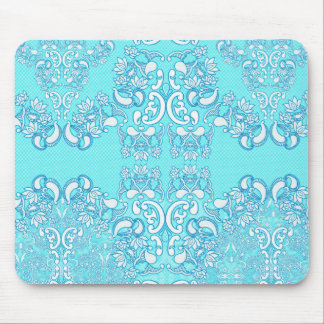 Aqua Sea Blue Elegant Modern Damask Pattern Mousepad