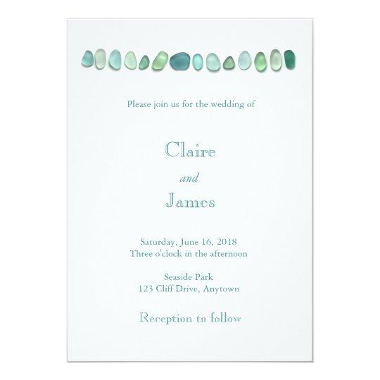 Aqua Sea Glass Wedding Invitation