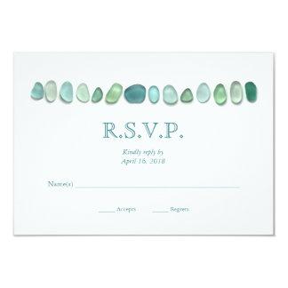 Aqua Sea Glass Wedding RSVP Card
