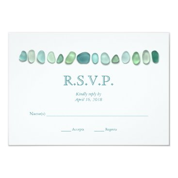 Seafont Aqua Sea Glass Wedding RSVP Card