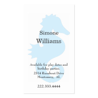 Aqua Sea Horse Children Calling Card Double-Sided Standard Business Cards (Pack Of 100)