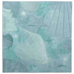 Aqua Sea Shell Custom Cotton Napkins<br><div class='desc'>Stylish cotton napkins done in a lovely aquamarine sea shell pattern,  with star fish,  shells,  and sand dollars and a slight distressed look.  Small teal colored text is ready to personalize for yourself or as a gift idea.</div>