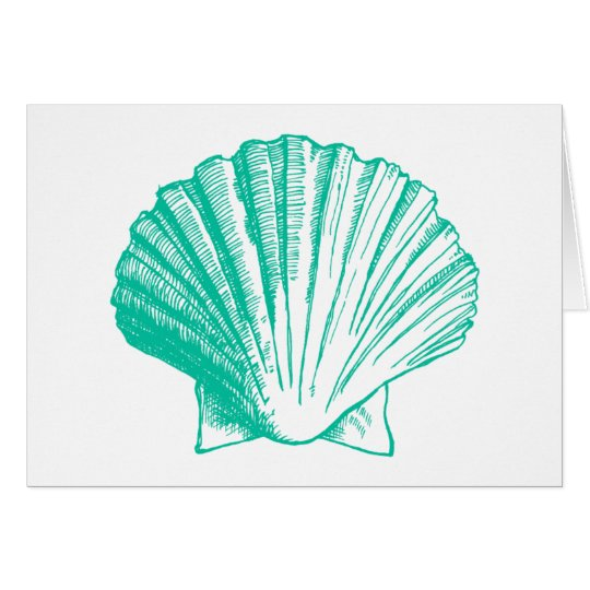 Aqua Sea Shell Thank You Note Cards