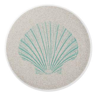 Aqua Sea Shell with Sand Texture Ceramic Knob