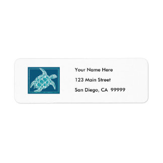 Aqua Sea Turtle Custom Return Address Label