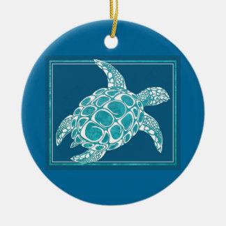 Aqua Sea Turtle Christmas Ornaments