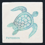 "Aqua Sea Turtle Personalized Stone Coaster<br><div class=""desc"">Beautiful graphic stone coaster,  with a unique aqua colored intricate illustration of a sea turtle. Chose the stone style you prefer and personalize the aqua text.  Stylish gift idea for anyone.</div>"