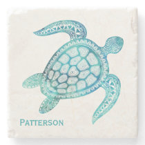 Aqua Sea Turtle Personalized Stone Coaster
