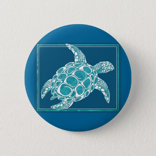 Aqua Sea Turtle Pinback Button
