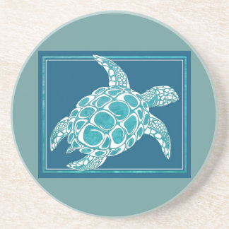 Aqua Sea Turtle Sandstone Coaster