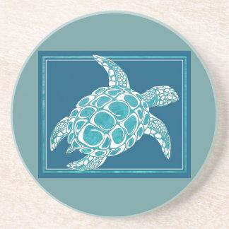 Aqua Sea Turtle Sandstone Coaster