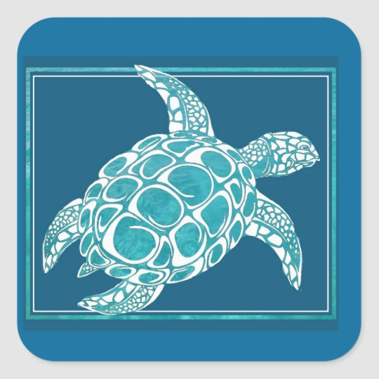 Aqua Sea Turtle Square Sticker