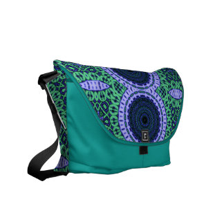 Aqua Seahorse Kaliedescope Pattern Courier Bag