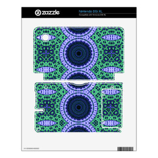 Aqua Seahorse Kaliedescope Pattern Skins For The DSi XL