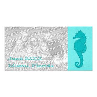 Aqua Seahorse Mosaic 2 Card