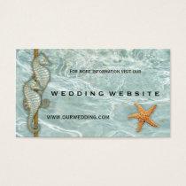 Aqua Seahorses Nautic Wedding Website Insert Card