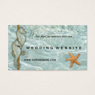 Beach Themed Aqua Seahorses Nautic Wedding Website Insert Card