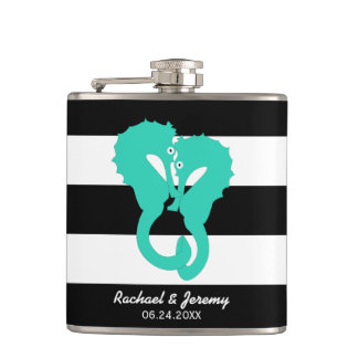 Aqua Seahorses on Stripes Couple's Personalized Flask