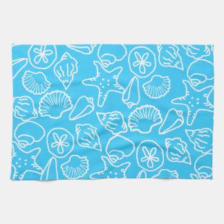 Aqua Seashells Artisitc Kitchen Towel