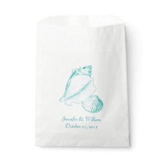 Aqua Seashells Wedding Favor Bag