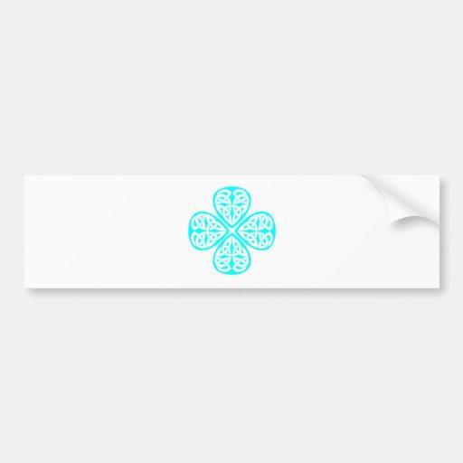 aqua shamrock celtic knot bumper stickers