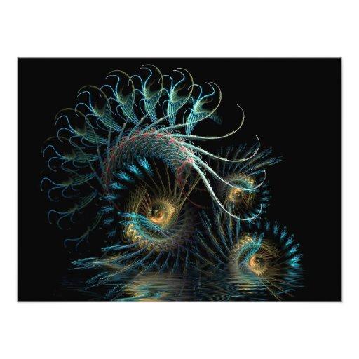 Aqua Shell Swirl Fractal Art Photo